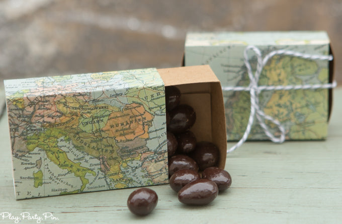 Map Favor Boxes Filled With Chocolates | Kate Aspen via Play. Party. Pin.