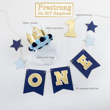 Load image into Gallery viewer, Blue & Gold 1st Birthday Decor Kit