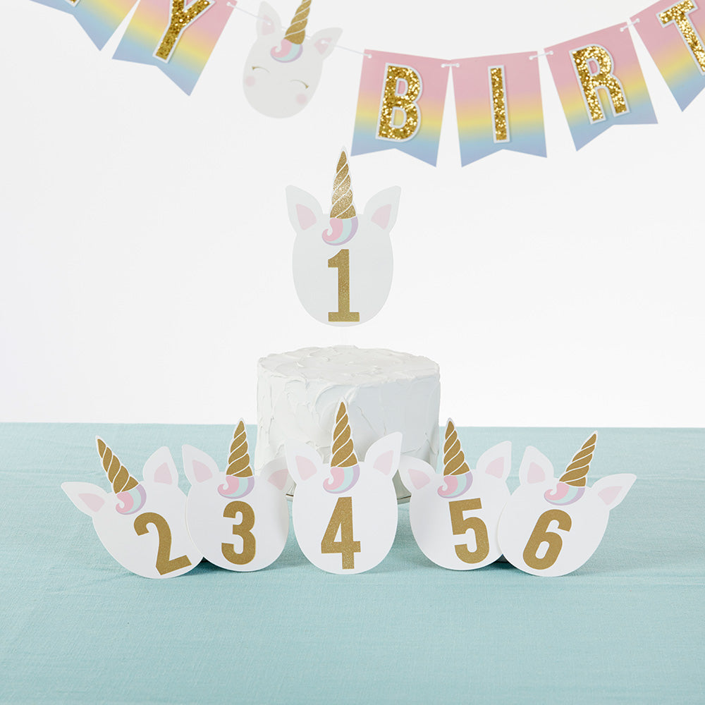 Gold Glitter Unicorn Happy Birthday Décor Kit