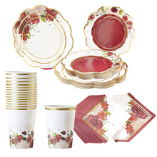 Load image into Gallery viewer, Burgundy Blush Floral 72 Piece Party Tableware Set (16 Guests)