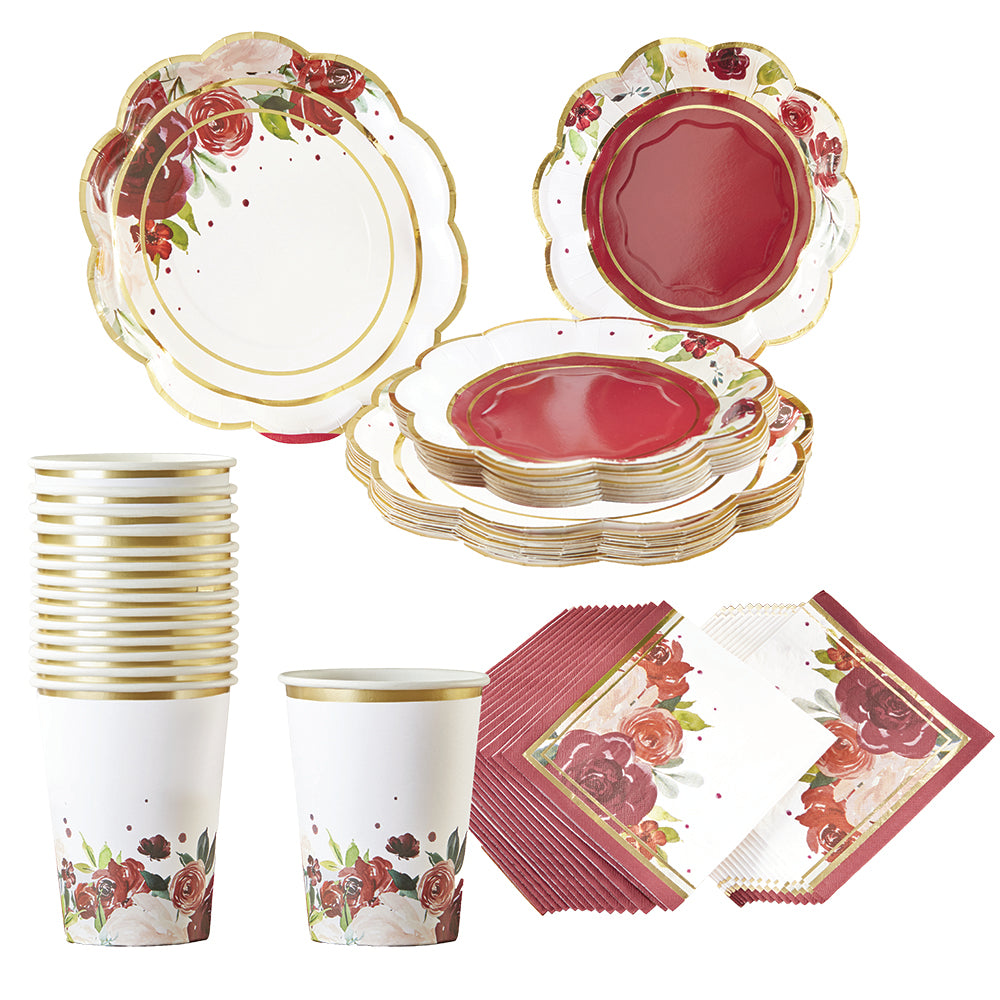 Burgundy Blush Floral 72 Piece Party Tableware Set (16 Guests)