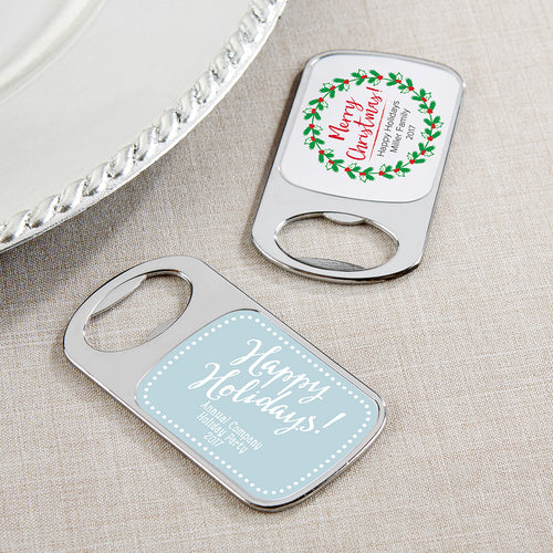 Personalized Silver Bottle Opener - Holiday