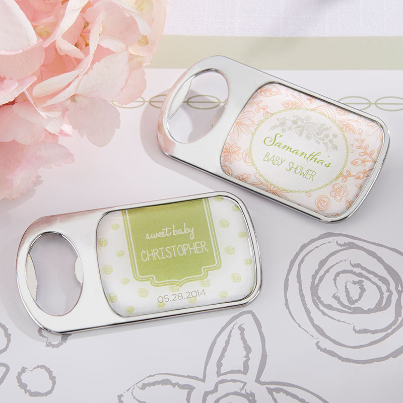 Personalized Silver Bottle Opener - Rustic Baby Shower
