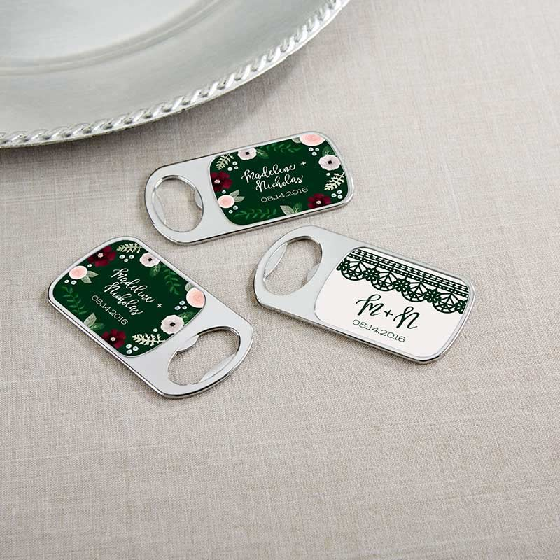 Personalized Silver Bottle Opener - Romantic Garden