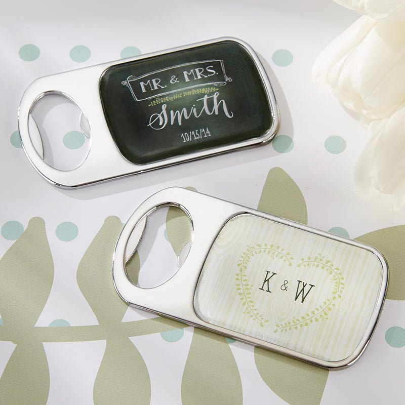 Personalized Silver Bottle Opener - Rustic Wedding