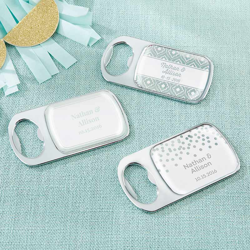 Personalized Silver Bottle Opener - Silver Foil
