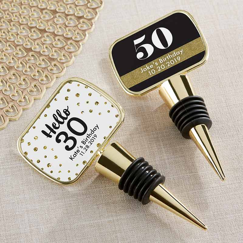 Personalized Gold Bottle Stopper - Milestone Birthday
