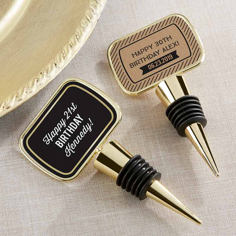Personalized Gold Bottle Stopper - Boozy Birthday