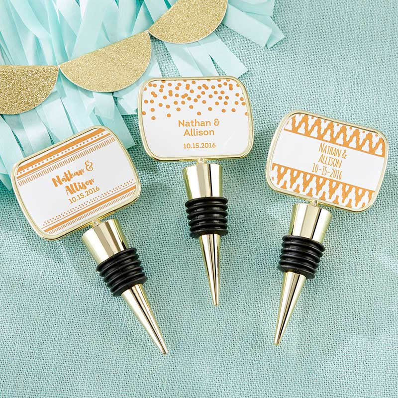 Personalized Gold Bottle Stopper - Copper Foil