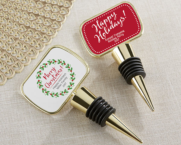 Personalized Gold Bottle Stopper - Holiday