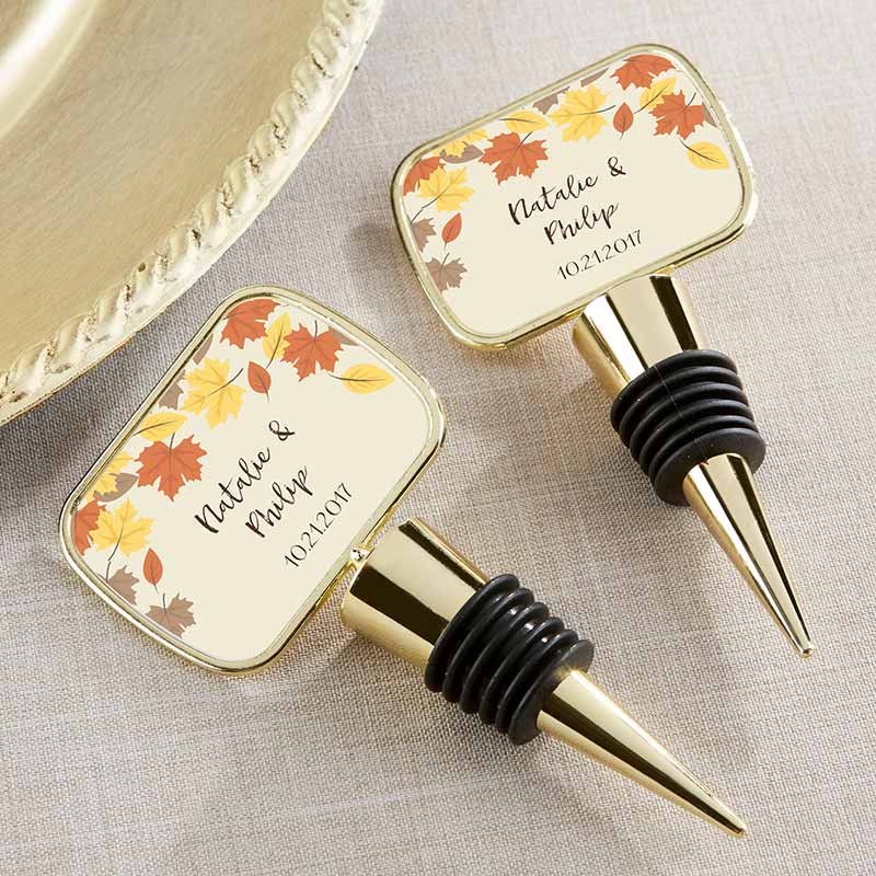 Personalized Gold Bottle Stopper - Fall Leaves