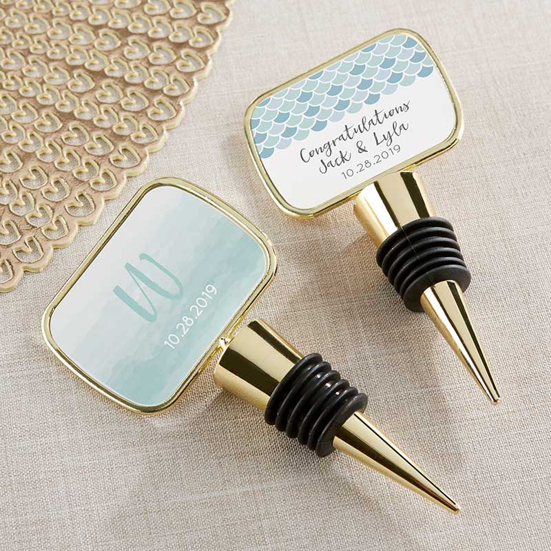 Personalized Gold Bottle Stopper - Seaside Escape