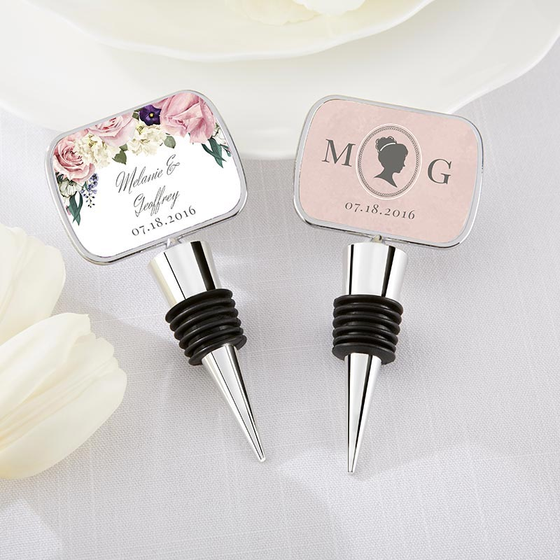 Personalized Silver Bottle Stopper - English Garden