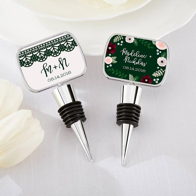 Personalized Silver Bottle Stopper - Romantic Garden