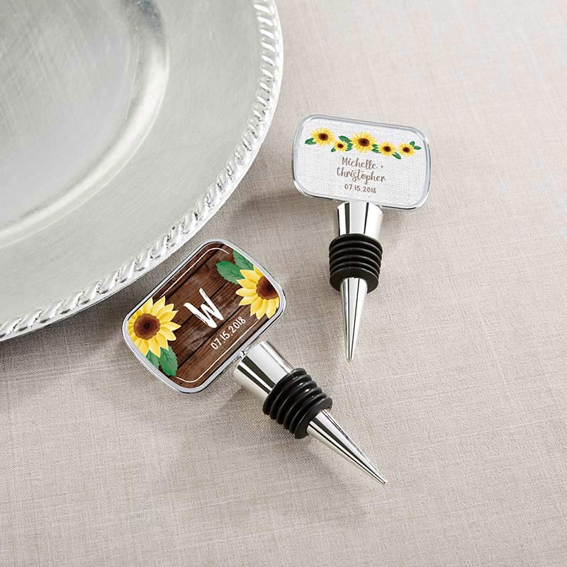 Personalized Silver Bottle Stopper- Sunflower