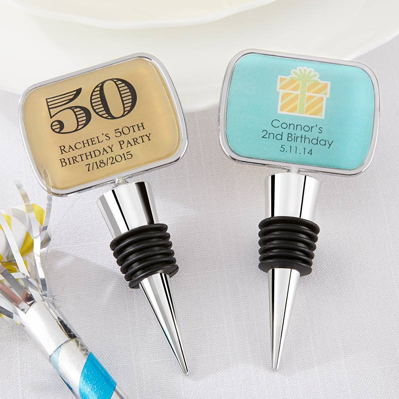Personalized Silver Bottle Stopper - Birthday
