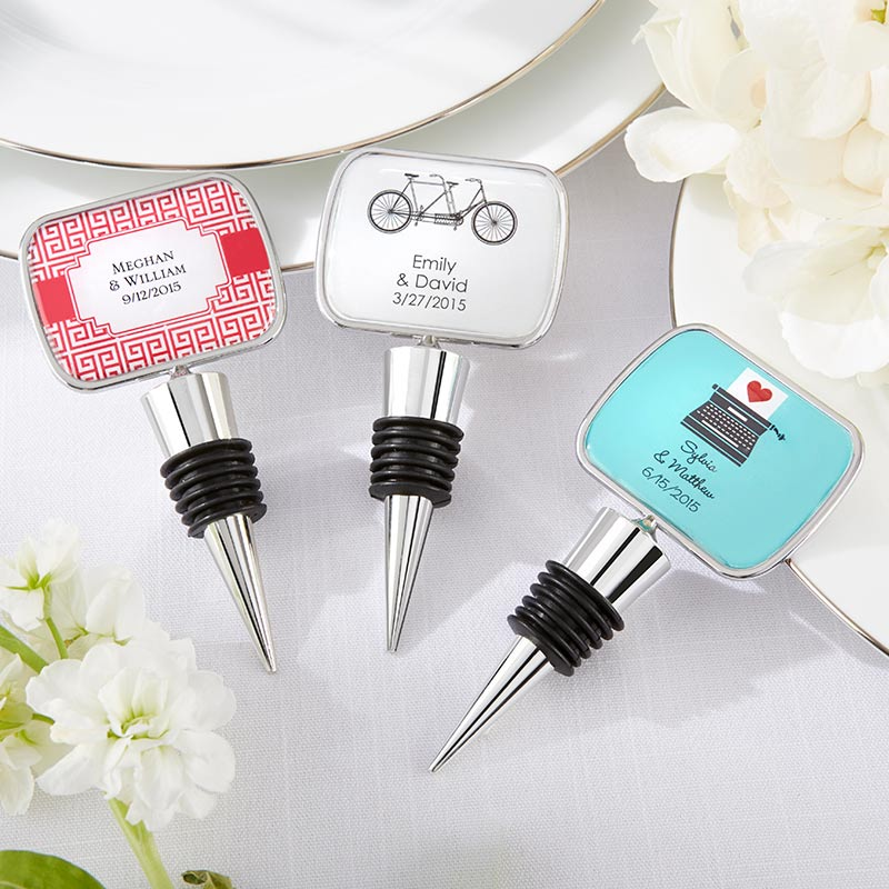 Personalized Silver Bottle Stopper - Wedding