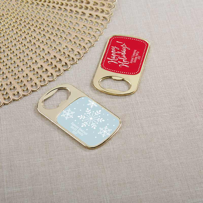 Personalized Gold Bottle Opener - Holiday