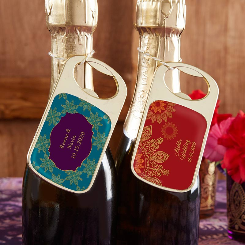 Personalized Gold Bottle Opener - Indian Jewel