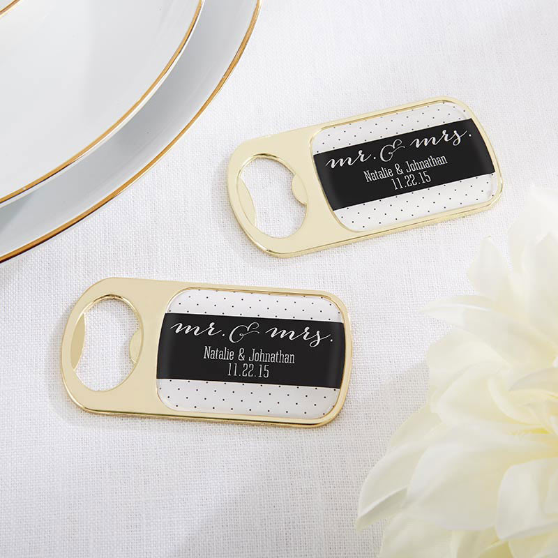 Personalized Gold Bottle Opener - Mr. & Mrs.