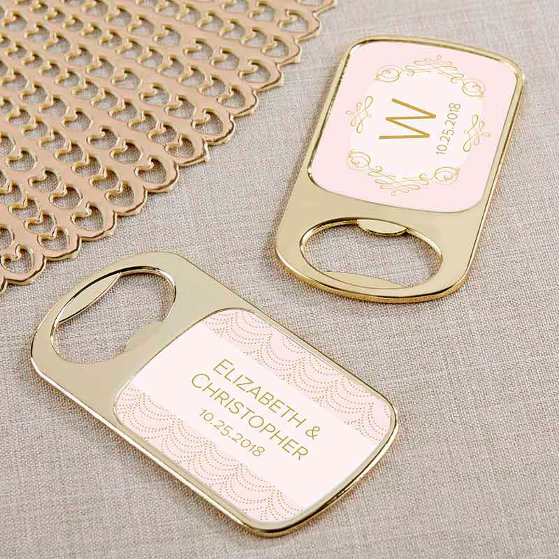Personalized Gold Bottle Opener - Modern Romance