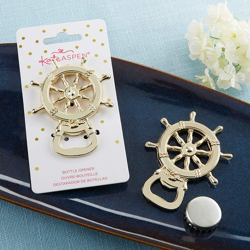 Load image into Gallery viewer, Gold Nautical Ship Wheel Bottle Opener