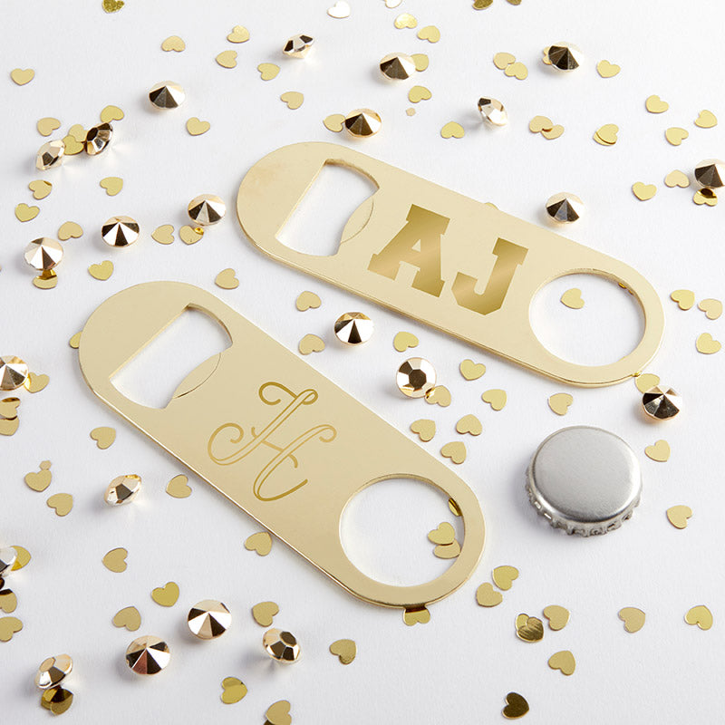 Personalized Gold Oblong Bottle Opener - Engraved