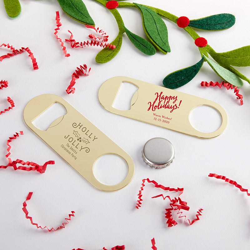 Personalized Gold Oblong Bottle Opener - Holiday