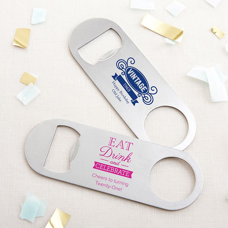 Personalized Silver Oblong Bottle Opener - Birthday