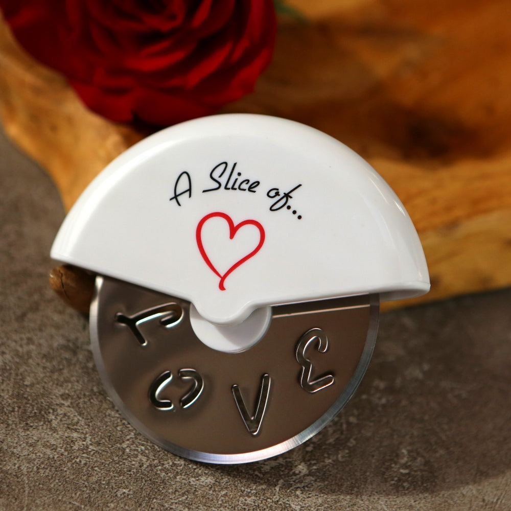 Load image into Gallery viewer, A Slice of Love Stainless-Steel Pizza Cutter in Miniature Pizza Box