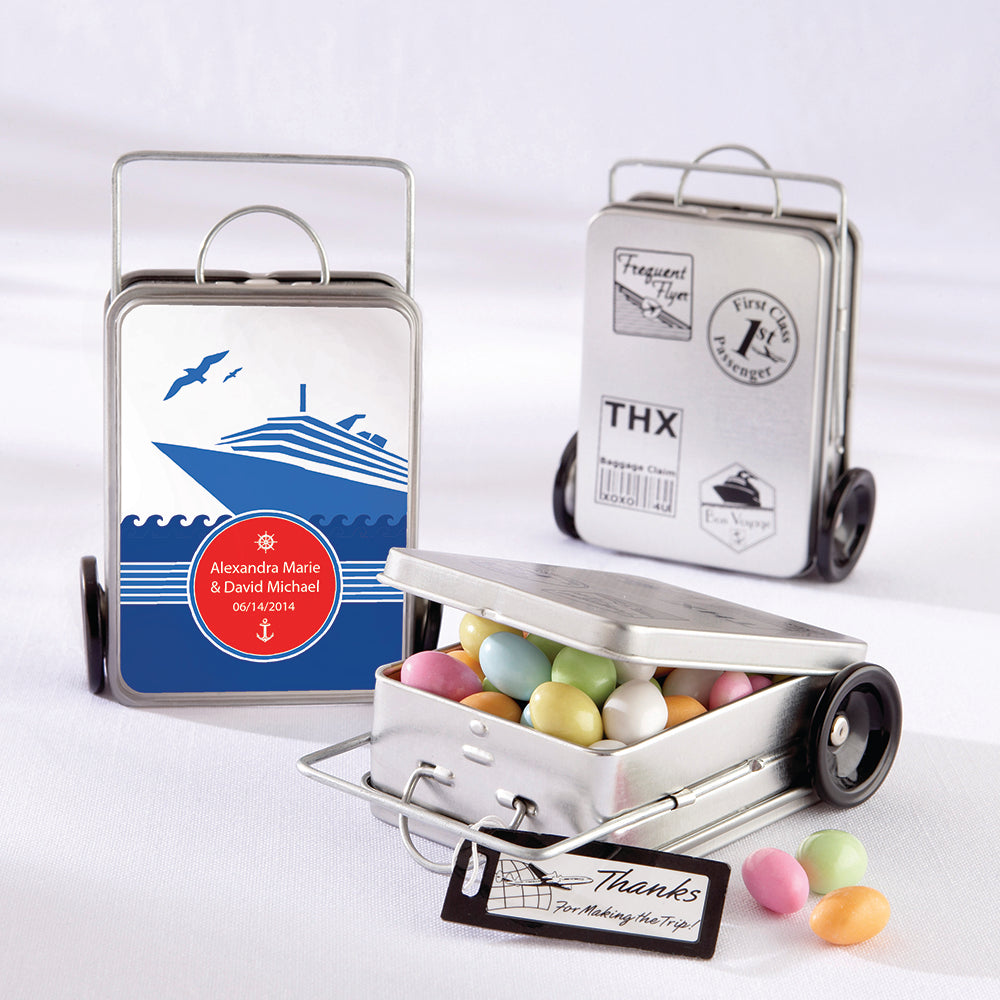Miles of Memories Suitcase Favor Tins (Personalization Available)