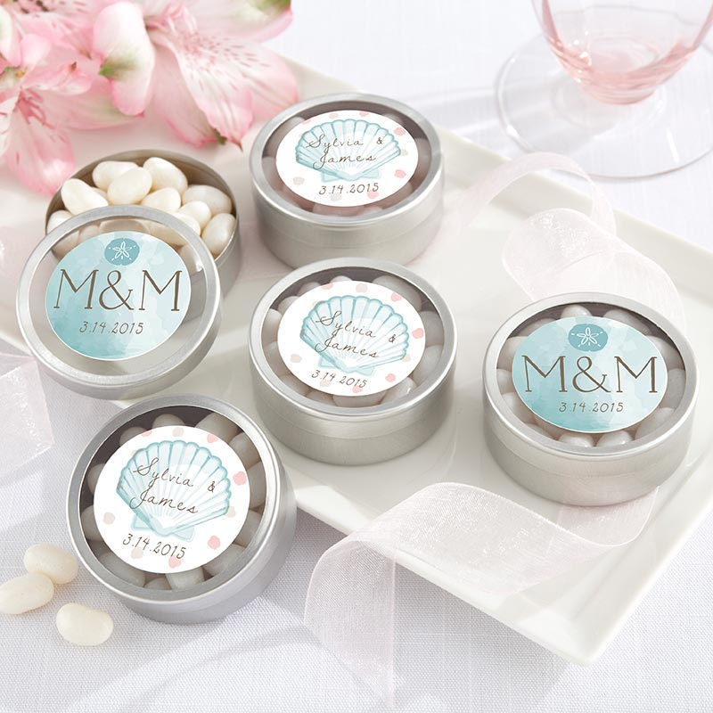 Personalized Silver Round Candy Tin - Beach Tides (Set of 12)