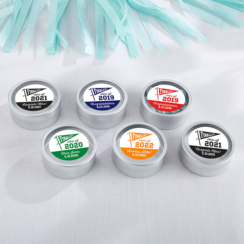 Personalized Silver Round Candy Tin - Finally! Class of 2019 (Set of 12)
