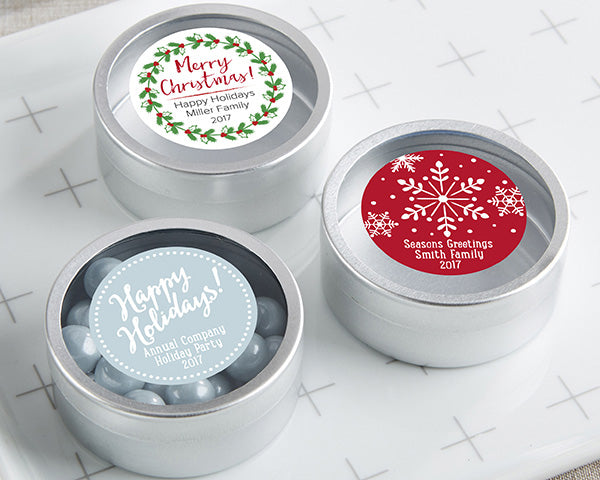 Personalized Silver Round Candy Tin - Holiday (Set of 12)