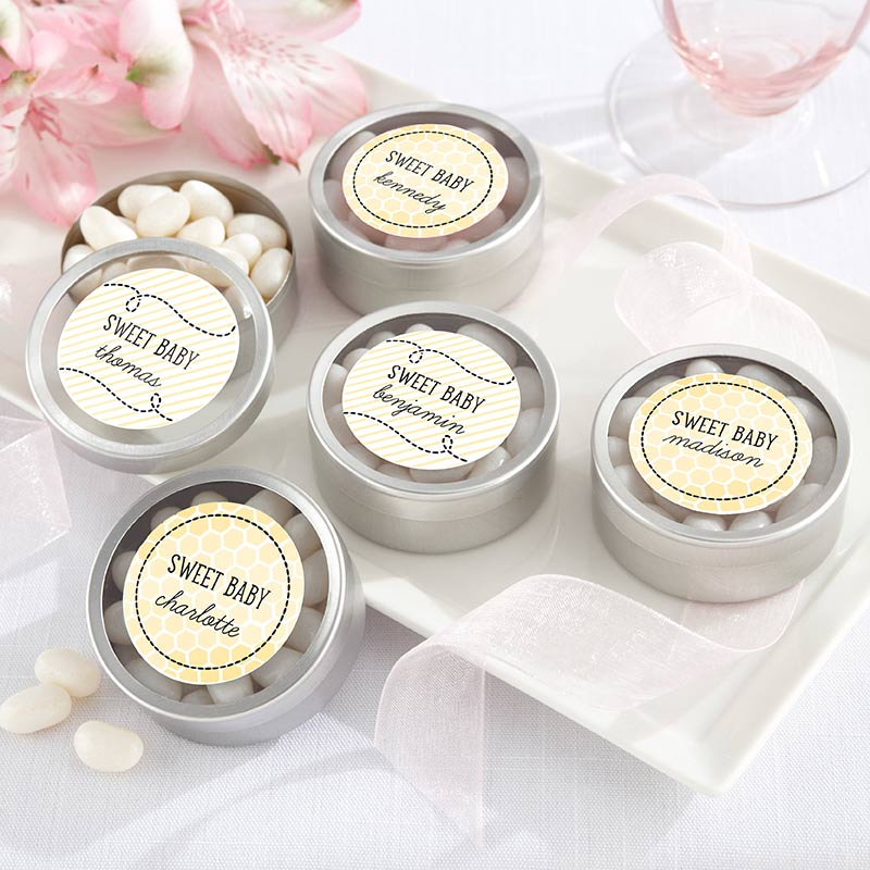 Personalized Silver Round Candy Tin - Sweet as can Bee (Set of 12)