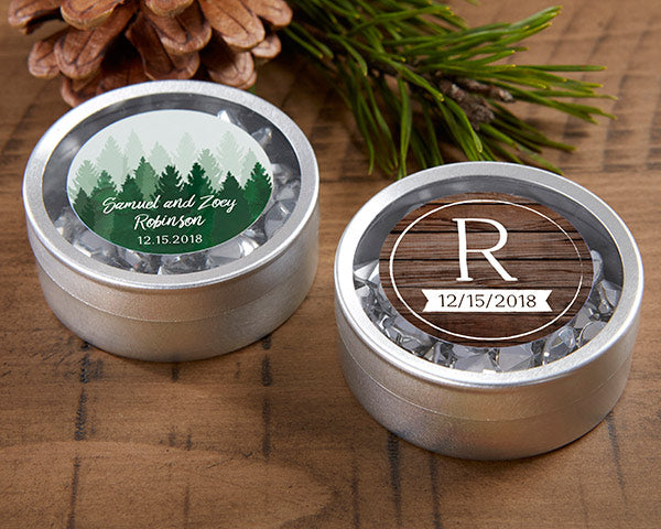 Personalized Silver Round Candy Tin - Winter (Set of 12)