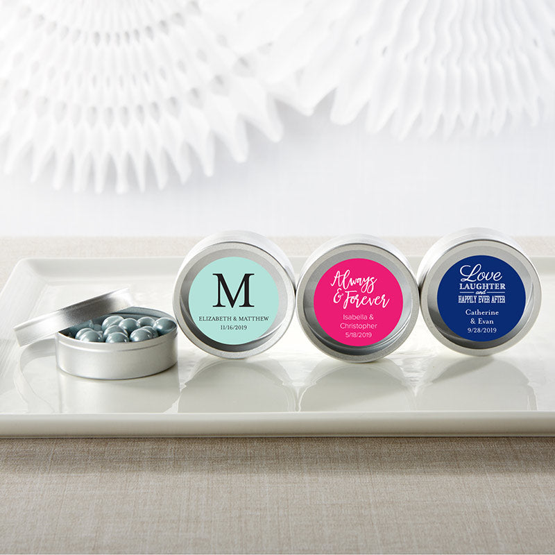 Simply Sweet Personalized Round Candy Tin (Set of 12)