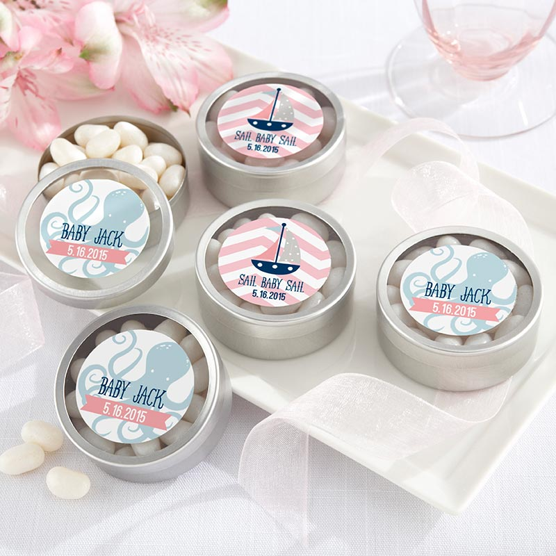 Personalized Silver Round Candy Tin - Nautical Baby Shower (Set of 12)