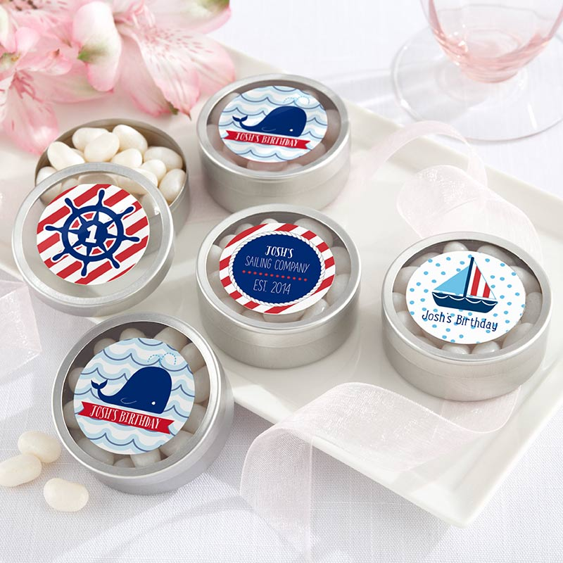 Personalized Silver Round Candy Tin - Nautical Birthday (Set of 12)