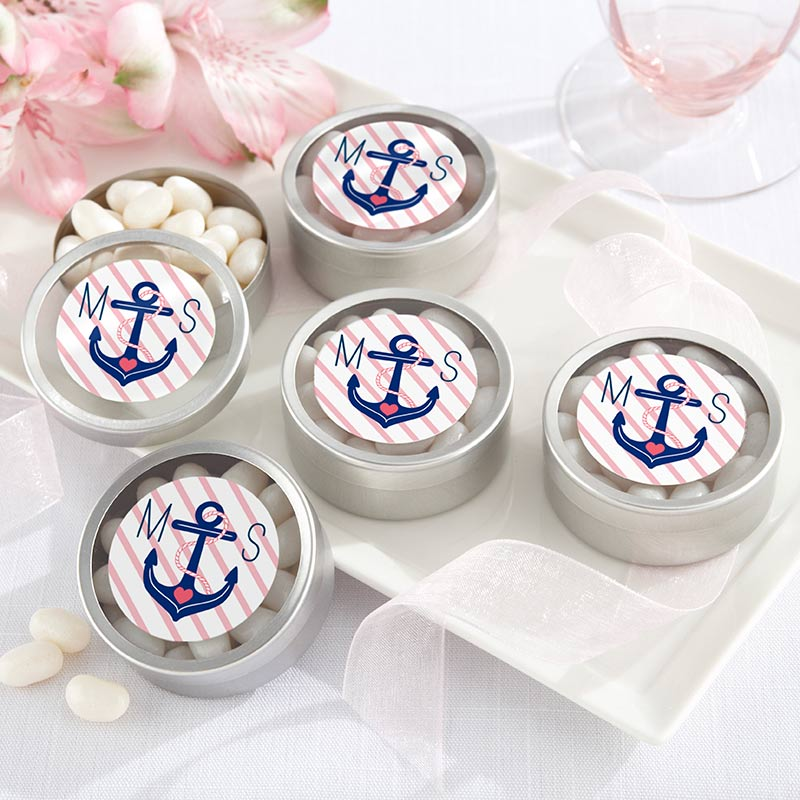 Personalized Silver Round Candy Tin - Nautical Bridal Shower (Set of 12)