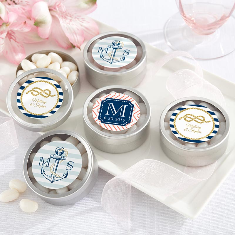 Personalized Silver Round Candy Tin - Nautical Wedding (Set of 12)