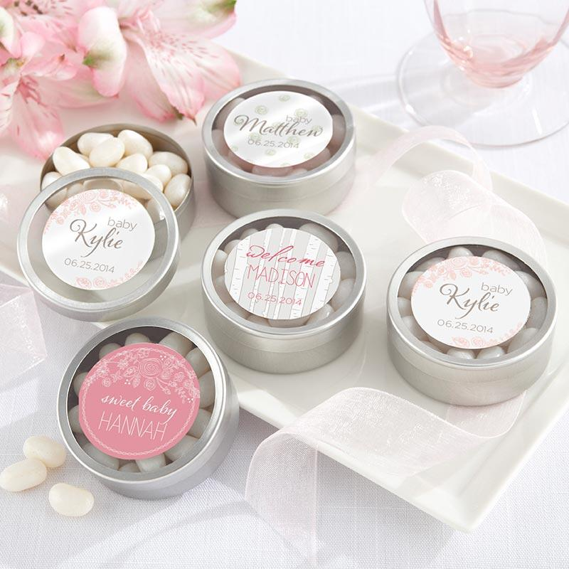 Personalized Silver Round Candy Tin - Rustic Baby (Set of 12)