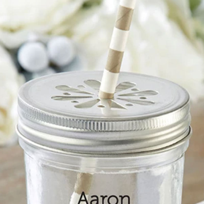 Flower Stamped Mason Jar Lids (Set of 12)