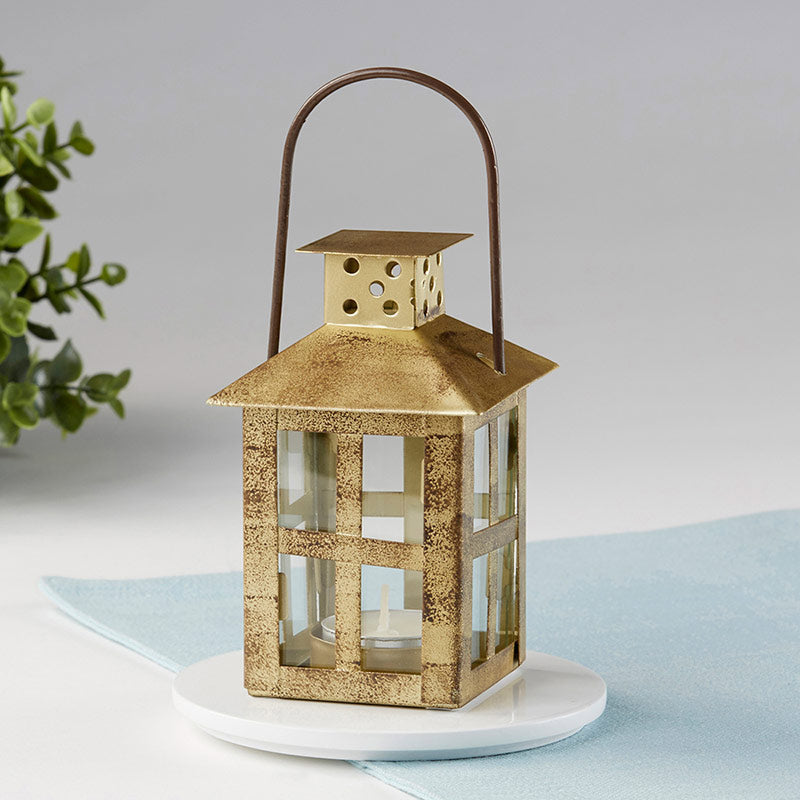 Load image into Gallery viewer, Vintage Antique Gold Distressed Lantern - Small