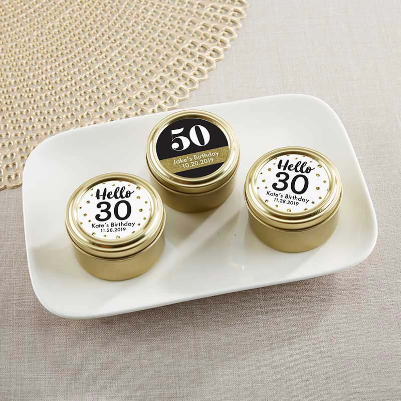 Personalized Gold Round Candy Tin - Milestone Birthday (Set of 12)