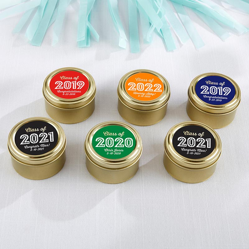 Personalized Gold Round Candy Tin - Class of 2019 (Set of 12)