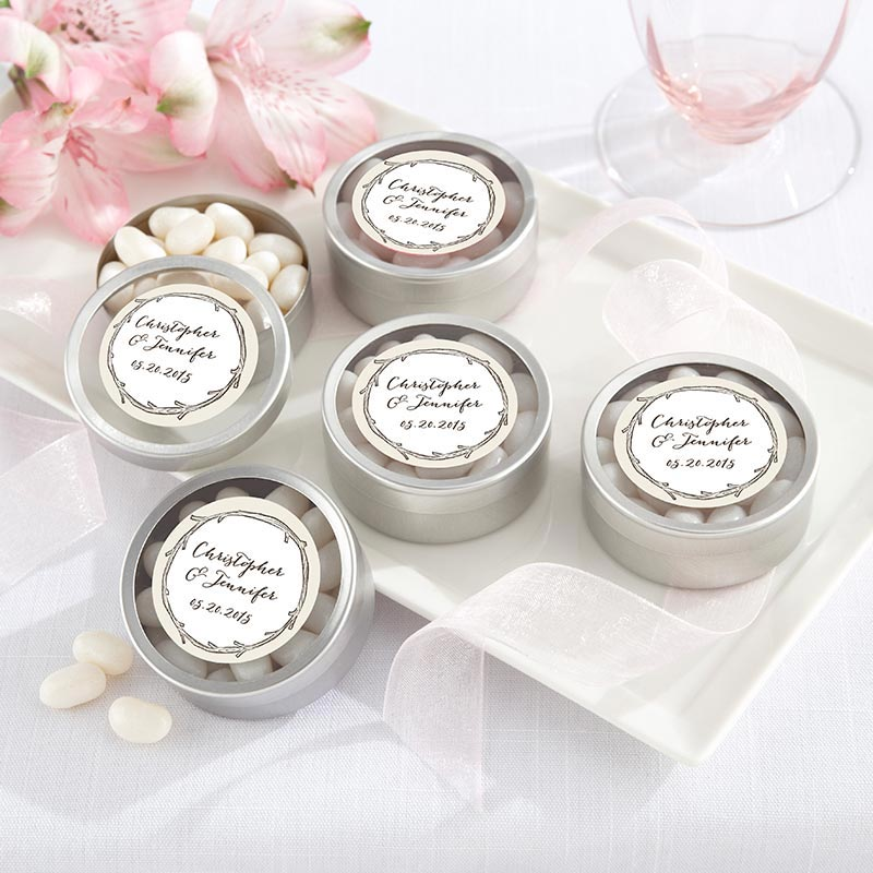 Personalized Silver Round Candy Tin - The Hunt Is Over (Set of 12)