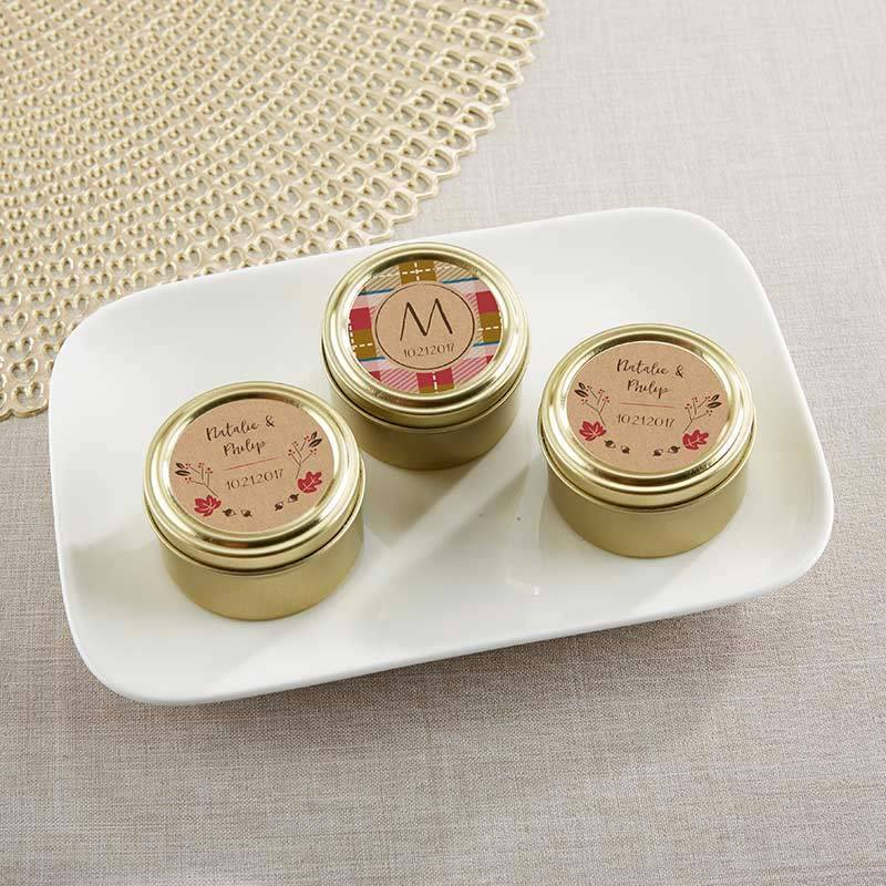 Personalized Gold Round Candy Tin - Fall (Set of 12)