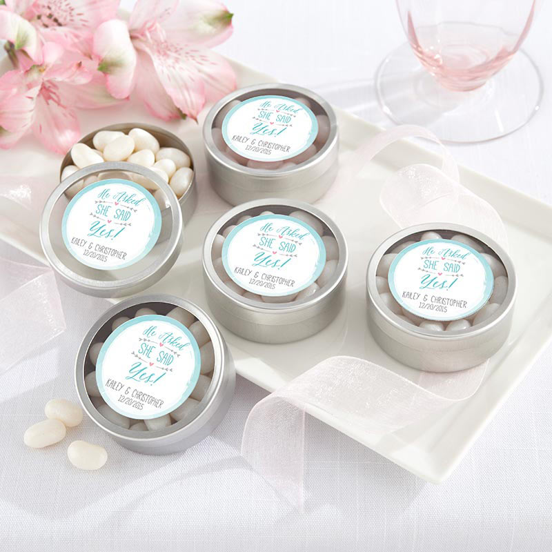 Personalized Silver Round Candy Tin - He Asked, She Said Yes (Set of 12)