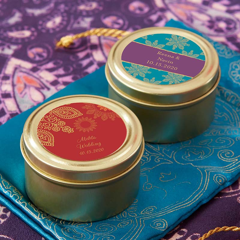 Personalized Gold Round Candy Tin - Indian Jewel (Set of 12)